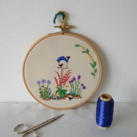 Embroidered Garden hanging, Hoop Embroidery