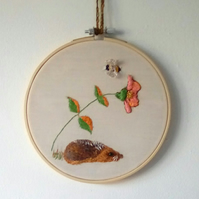 Embroidered Hedgehog, Animal Embroidery, Hand Embroidery