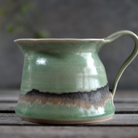 Seascape flower jug - handmade ceramics, green glazes