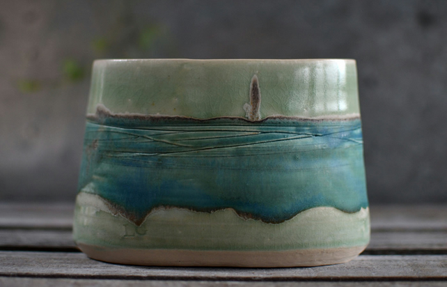 landscape bowl - handmade ceramic, glazed in blues and greens