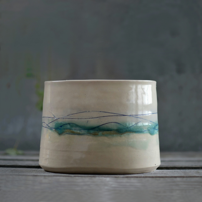 Seascape Bowl - handmade ceramic pot, decorated in ocean blues and greens