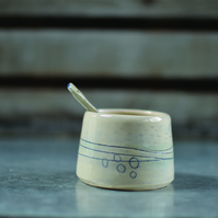 Sea shore Sugar bowl & Spoon - handmade ceramic, decorated with drawn lines