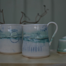 Seascape ceramic jug - whites, turquoise and greens
