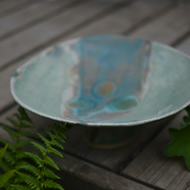 Beautiful birdbath for your garden - glazed in greens, turquoise and blues.