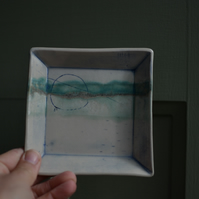 Seascape Square ceramic dish - glazed in turquoise, greens and blues