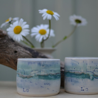 Seascape Japanese style tea cup