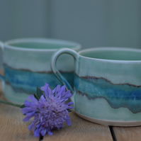 Beautiful handmade ceramic cup - Glazed in green and turquoise