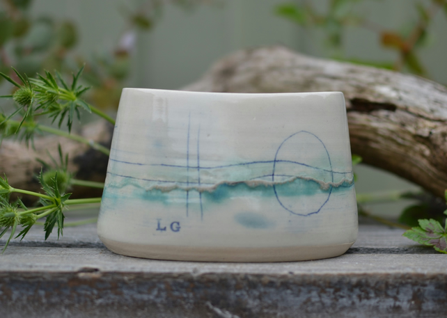 Small Seascape oval pot - Beautifully glazed in sea tones