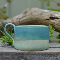 skyline cup - glazed in beautiful turquoise and greens
