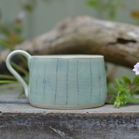 Small treasures cup - delicately glazed in pale green crackle glaze