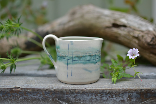 Seascape ceramic milk jug - glazed in turquoise, greens and blues