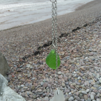 Sea glass lariat necklace, white and green. Adjustable.