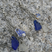 Sea glass, sea pottery silver ear rings. White and blue with willow pattern.