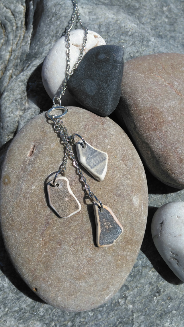 Sea pottery Lariat Style Necklace.