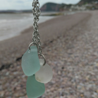 Three coloured  Sea Glass lariat type necklace.