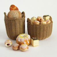 2 Filled 1:12th scale Bakery Baskets