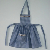 Blue gingham apron with black cat trim to suit a 3 to 4 year old little girl