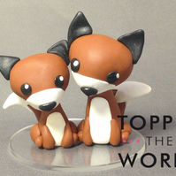Cute Polymer Clay Foxes Wedding Cake Topper