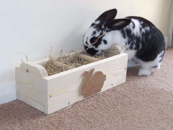 Wooden Rabbit Hay Feeder