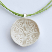 Porcelain Mushroom Necklace on Green Cord
