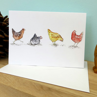 Happy Hens Blank A6 Greeting Card