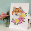 Mr Fox A4 Art Print, Watercolour British Wildlife Illustration, Roses