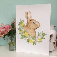 Buttercup Bunny A4 Art Print, Daisy Flowers, Wildlife Watercolour Painting