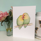 Cute Pair Of Lovebirds, A4 Art Print, Watercolour Bird Painting