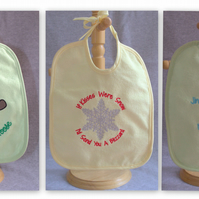 Christmas Baby Bibs - Baby's first Christmas - Festive Embroidered Baby Bibs