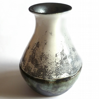 THROWN POT Unique Handmade Display Pot - Ash Green Speckled - No.13