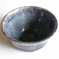 THROWN POT Unique Handmade Display Pot - Small Blue Crackle - No.10