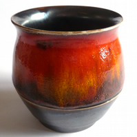 THROWN POT Unique Handmade Display Pot - Stunning Fire Glaze - No.14