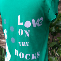 "Ladies green ""Love on the Rocks"" T-shirt size M UK 10"