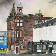 Glasgow Cityscape Old College Bar Giclee Print Scotland