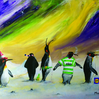 Paralytic Penguins Humorous Cartoon Digital Print