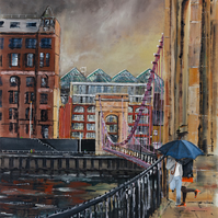 Glasgow Cityscape Suspension Bridge Giclee Print