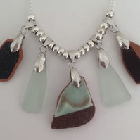 Beach Pottery and sea glass necklace
