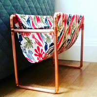 Copper pipe and fabric magazine rack