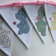 Little Bear Appliqué Floral Nursery Bunting