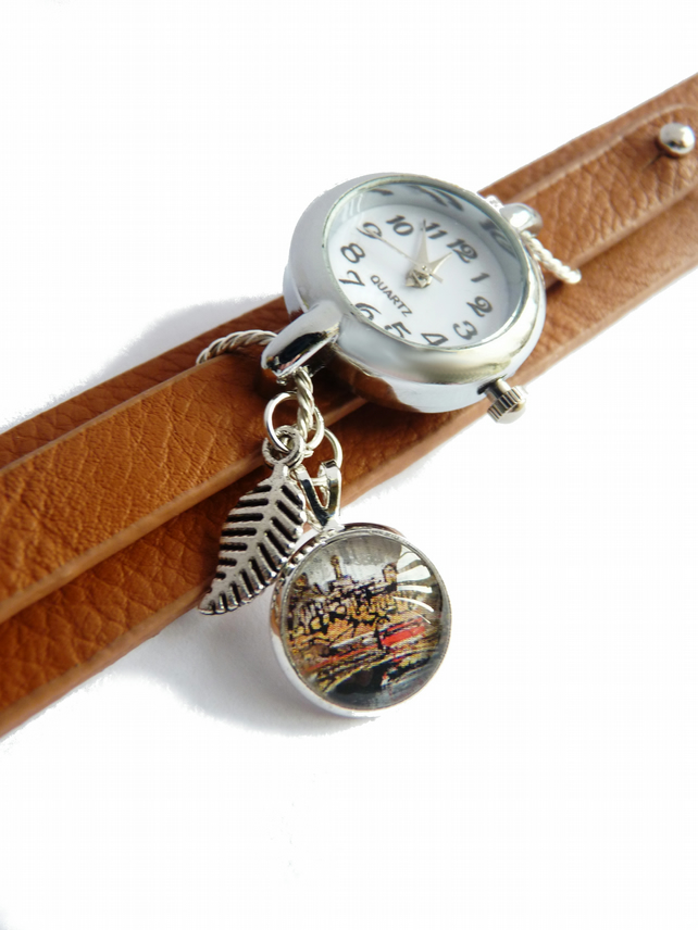 Brown watch with leather strap, wristwatch with leaf pendant and glass cabochon