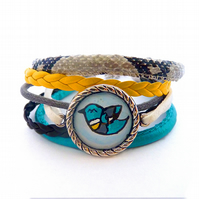 Colorful bracelet with strap, bird, snake skin, gray, turquoise