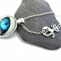 Necklace with cat eye, blue eye, cat, cats lover, love cat, white cat, silver