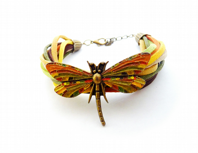 Suede bracelet with dragonfly, orange, green, beige, brown