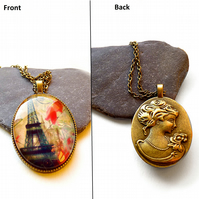 Two-sided necklace with graphics: the Eiffel Tower, flowers and cameo