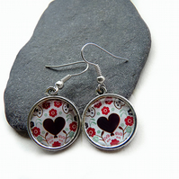 Dandle, round earrings, heart, flowers, earrings with cabochon, ethnic