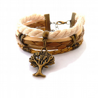 The tree of life bracelet, brown, beige, leather bracelet