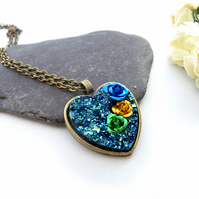 Gold necklace, heart, bands, resin, roses, flowers, peacock blue, heart necklace