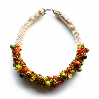 Autumn - crochet necklace with beads, orange, brown, green, yellow