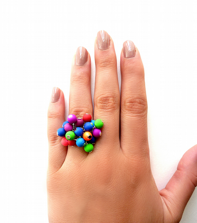 Neon colors ring with beads, green,red, blue, purple, pink, colorful ring