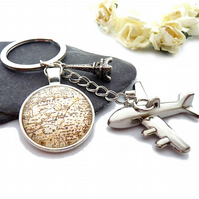 Key chain - traveler, plain, map, Eiffel Tower